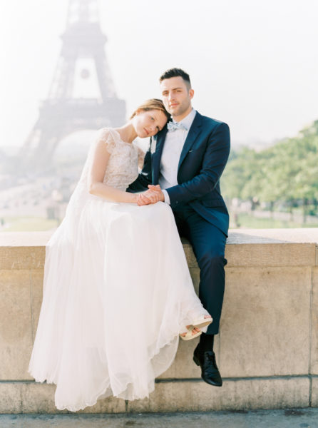 Paris Elopement photographer, bride and groom in front of eiffel tower, trocadero wedding photos, paris film photographer