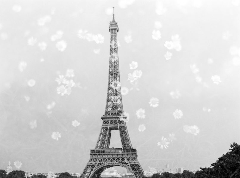 eiffel tower, film double exposure, paris elopement, paris wedding photographer, paris fine art photographer