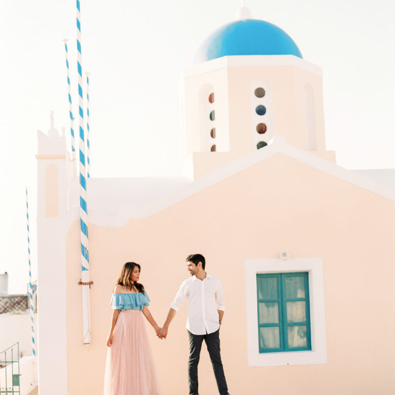 Santorini fine art photographer, Santorini film photographer, film engagement photos