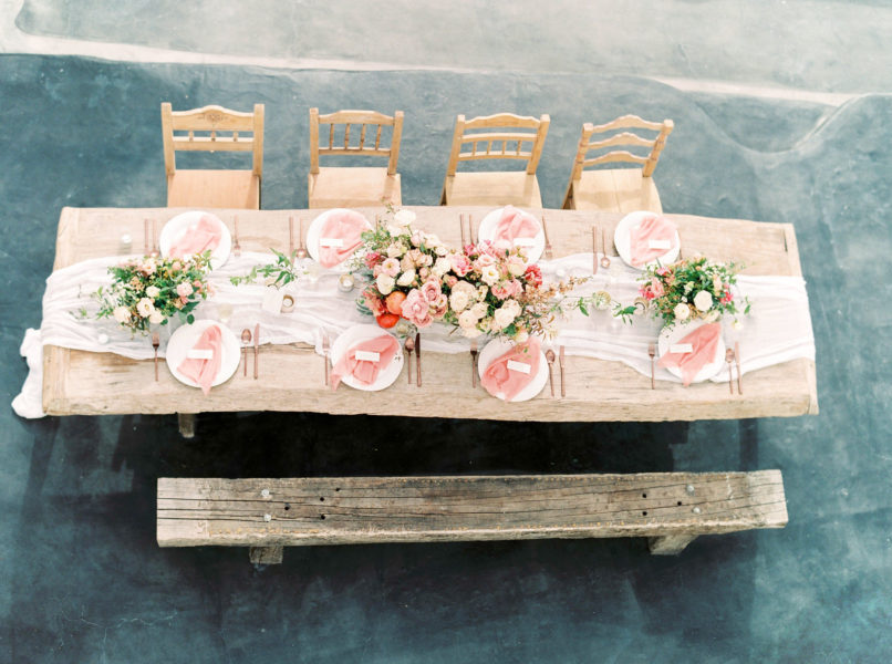 Santorini wedding, santorini film photographer, wedding tablescape, table with pink flowers